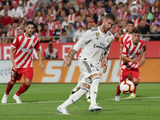 d821d2ab2 Real Madrid captain Sergio Ramos scores a penalty during his side s La Liga  clash with Girona