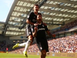 Fulham striker Aleksandar Mitrovic celebrates scoring during his side's Premier League game against Brighton on September 1, 2018