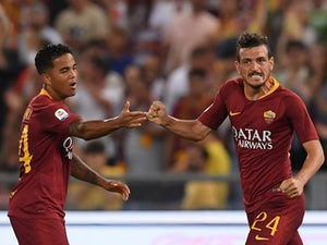 Roma's Alessandro Florenzi celebrates scoring during their Serie A clash with Atalanta on August 27, 2018
