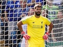 Liverpool goalkeeper Alisson Becker reacts after his mistake during the Premier League clash with Leicester City on September 1, 2018