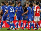 Christian Fuchs celebrates scoring during the EFL Cup second-round game between Leicester City and Fleetwood Town on August 28, 2018