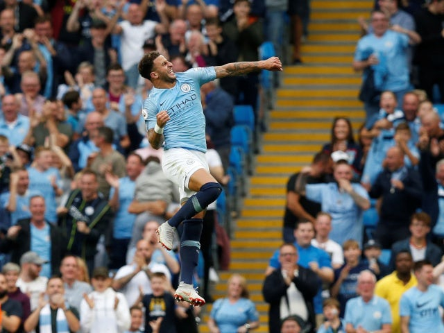 Kyle Walker celebrates Manchester City's second goal against Newcastle United on September 1, 2018