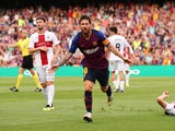 Barcelona forward Lionel Messi celebrates scoring during his side's La Liga clash with Huesca on September 2, 2018