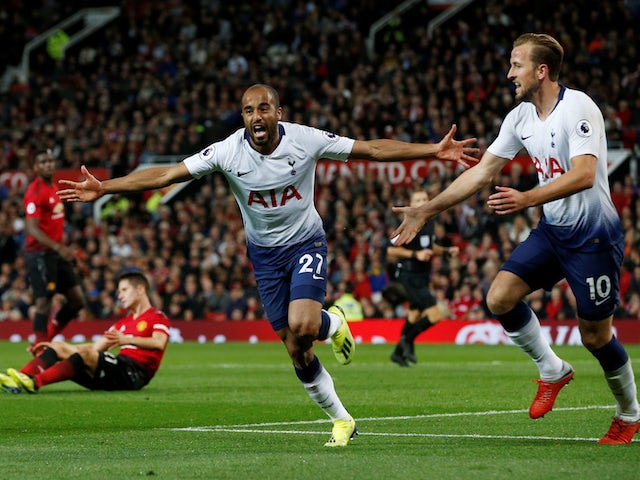 Tottenham Hotspur winger Lucas Moura wheels away in celebration after scoring during his side's Premier League match against Manchester United on August 27, 2018