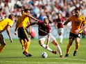 West Ham United striker Marko Arnautovic dribbles with the ball during his side's Premier League clash with Wolverhampton Wanderers on September 1, 2018