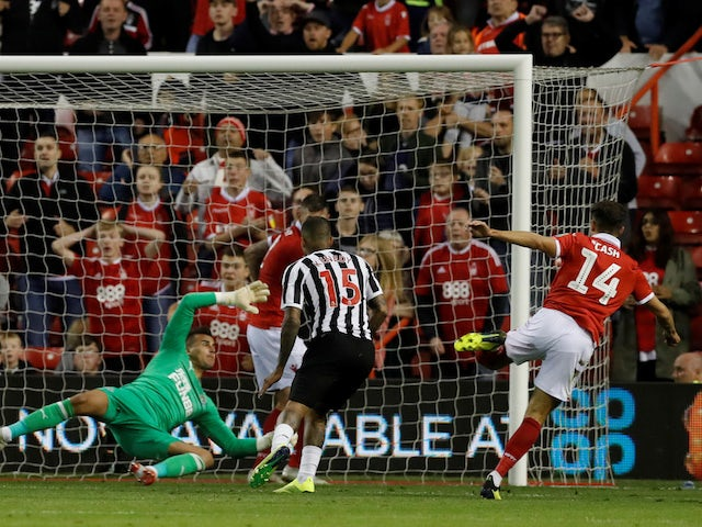 Nottingham Forest midfielder Matty Cash scores against Newcastle during their EFl Cup clash on August 29, 2018