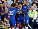 Chelsea's Pedro celebrates scoring against Bournemouth during their Premier League clash on September 1, 2018