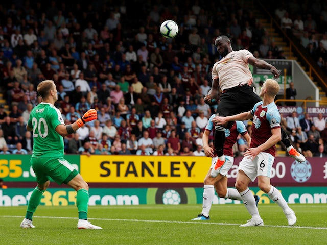 Manchester United striker Romelu Lukaku scores the opening goal in his side's Premier League clash with Burnley on September 2, 2018