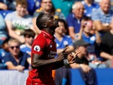 Liverpool striker Sadio Mane celebrates scoring the opening goal during his side's Premier League clash with Leicester on September 1, 2018