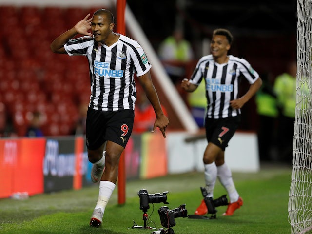 Newcastle United striker Salomon Rondon celebrates scoring during his side's EFL Cup clash with Nottingham Forest on August 29, 2018