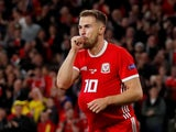 Wales midfielder Aaron Ramsey celebrates scoring against the Republic of Ireland on September 6, 2018