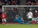 Denmark's Christian Eriksen scores their second goal from the penalty spot in the UEFA Nations League match against Wales on September 9, 2018