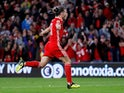 Wales forward Gareth Bale celebrates scoring during his side's UEFA Nations League clash with Republic of Ireland on September 6, 2018