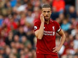 Liverpool captain Jordan Henderson in action during the Premier League clash with Brighton & Hove Albion on August 25, 2018
