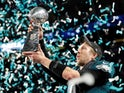 Nick Foles of the Philadelphia Eagles holds the Vince Lombardi trophy aloft in February 2018