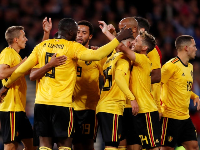 Romelu Lukaku celebrates Belgium's opening goal against Scotland on September 7, 2018