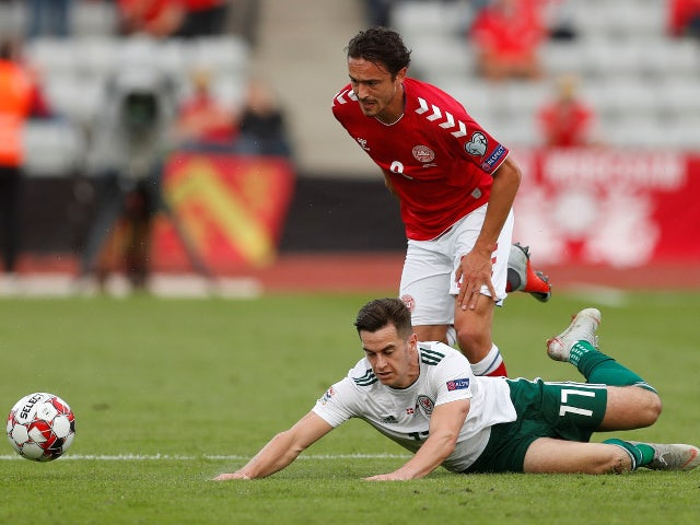 Wales's Tom Lawrence in action with Denmark's Thomas Delaney during the UEFA Nations League match on September 2018