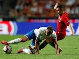 Portugal's Mario Rui in action with Italy's Domenico Berardi during the UEFA Nations League clash on September 10, 2018