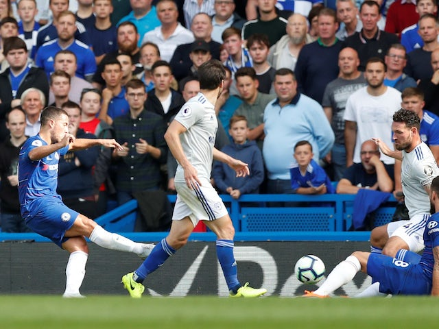 Eden Hazard scores the Blues' second during the Premier League game between Chelsea and Cardiff City on September 15, 2018