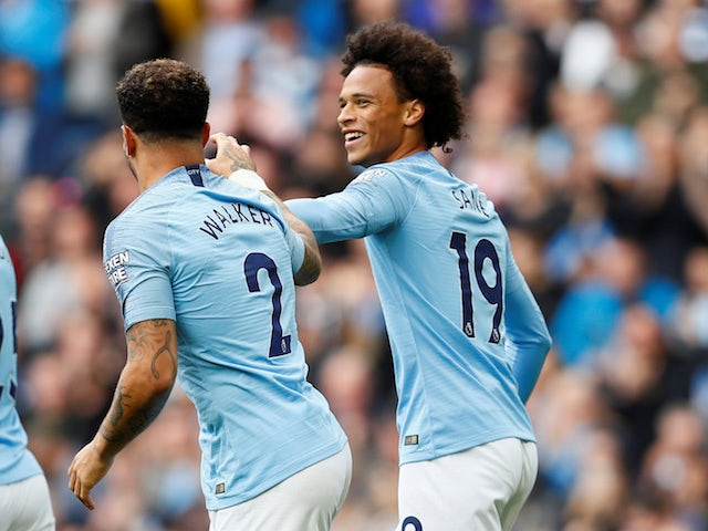 Leroy Sane celebrates scoring during the Premier League game between Manchester City and Fulham on September 15, 2018