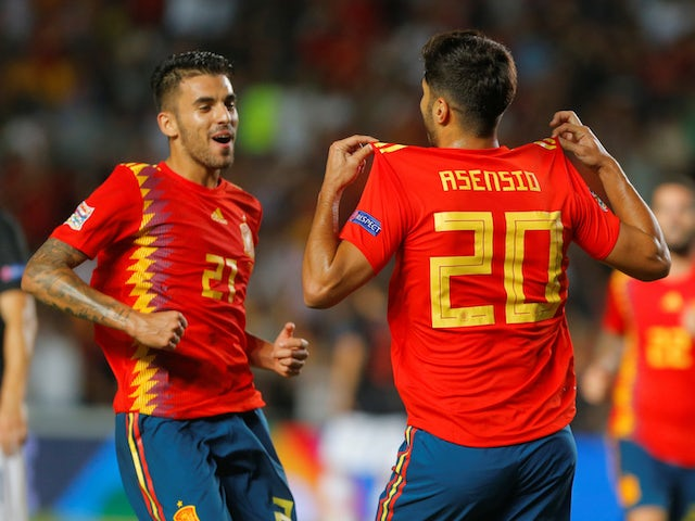 Spain midfielder Marco Asensio celebrates scoring during his side's Nations League clash with Croatia on September 11, 2018