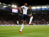 Marcus Rashford celebrates scoring for England during his side's international friendly against Switzerland on September 11, 2018