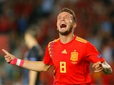 Spain midfielder Saul Niguez celebrates scoring during his side's Nations League clash with Croatia on September 11, 2018
