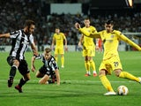 Alvaro Morata and Mauricio in action during the Europa League group game between PAOK and Chelsea on September 20, 2018