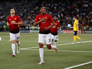 Manchester United attacker Anthony Martial celebrates after scoring in his side's Champions League clash with Young Boys on September 19, 2018