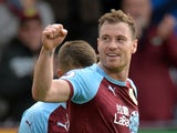 Ashley Barnes celebrates scoring the fourth goal during the Premier League game between Burnley and Bournemouth on September 22, 2018