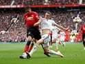 Chris Smalling and Diogo Jota in action during the Premier League game between Manchester United and Wolverhampton Wanderers on September 22, 2018