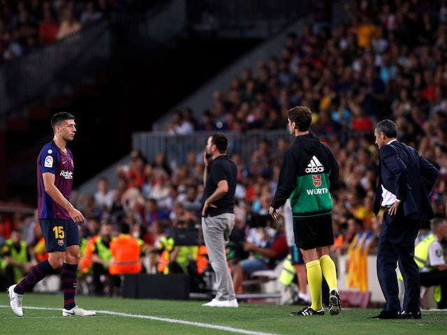 Barcelona defender Clement Lenglet walks off after being sent off during his side's La Liga match against Girona on September 23, 2018