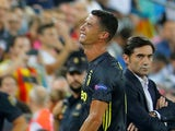 Juventus striker Cristiano Ronaldo leaves the field in tears after being sent off during his side's Champions League clash with Valencia on September 19, 2018