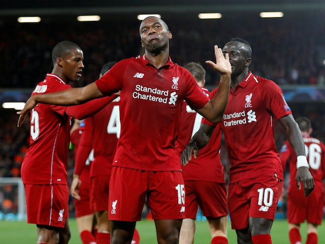 Daniel Sturridge celebrates scoring the opener during the Champions League group game between Liverpool and Paris Saint-Germain on September 18, 2018