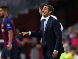 Ernesto Valverde watches on during the Champions League group game between Barcelona and PSV Eindhoven on September 18, 2018