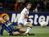 Gareth Bale in action for Tottenham Hotspur against Inter Milan in October 2010