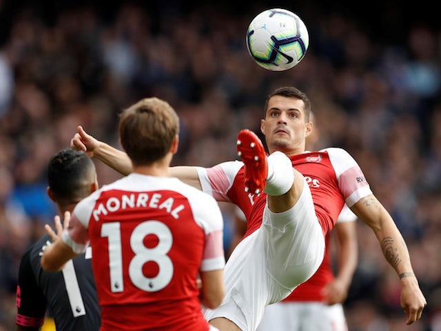 Granit Xhaka in action during the Premier League game between Arsenal and Everton on September 23, 2018
