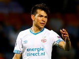 Hirving Lozano in action for PSV in the Champions League on August 21, 2018
