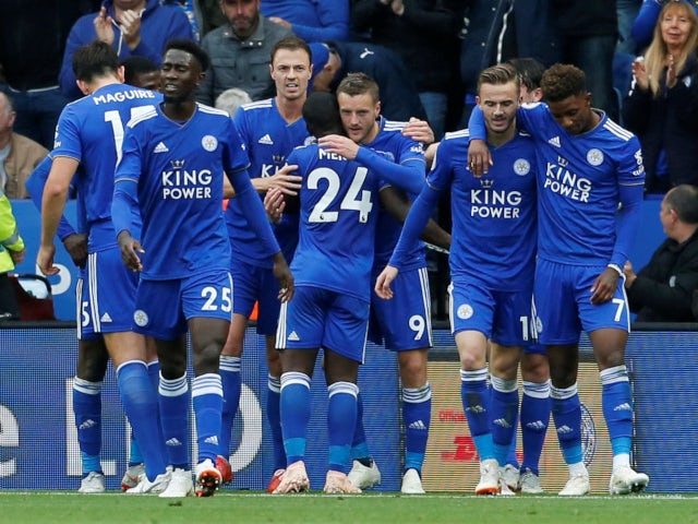 Jamie Vardy celebrates scoring Leicester City's third goal in the win over Huddersfield Town on September 22, 2018