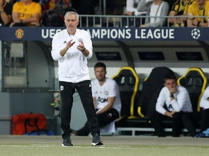 Manchester United manager Jose Mourinho watches on during his side's Champions League Group H clash with Young Boys on September 19, 2018