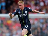 Kevin De Bruyne in action for Manchester City on August 12, 2018