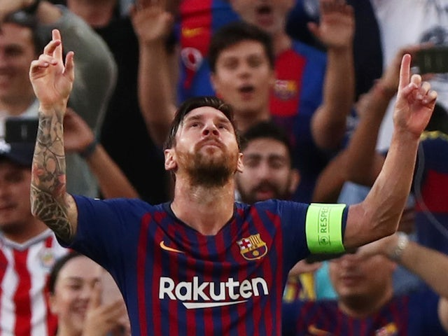 Lionel Messi celebrates the opener during the Champions League group game between Barcelona and PSV Eindhoven on September 18, 2018