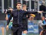 Mauricio Pochettino watches on during the Champions League group game between Inter Milan and Tottenham Hotspur on September 18, 2018