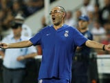 Maurizio Sarri reacts during the Europa League group game between PAOK and Chelsea on September 20, 2018