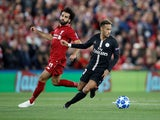 Mohamed Salah and Neymar in action during the Champions League group game between Liverpool and Paris Saint-Germain on September 18, 2018