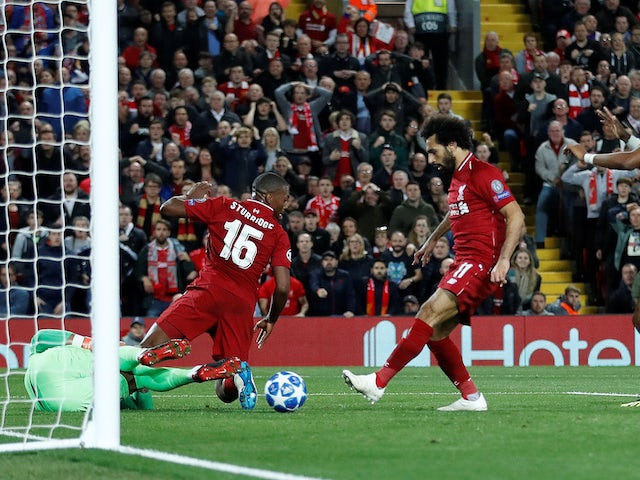 Mohamed Salah scores a disallowed goal during the Champions League group game between Liverpool and Paris Saint-Germain on September 18, 2018