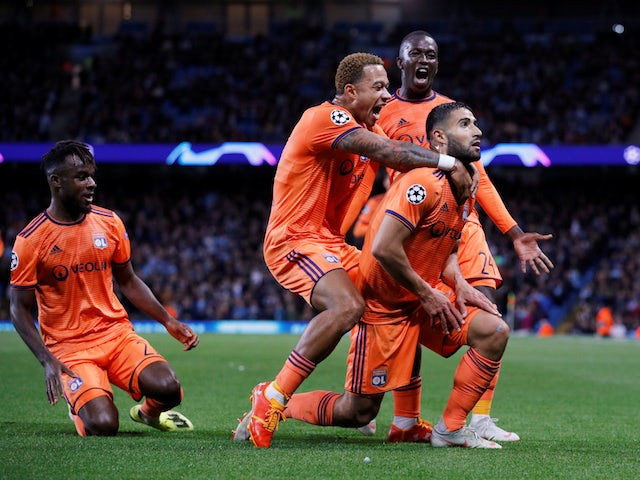 Lyon's Nabil Fekir celebrates scoring against Manchester City in their Champions League clash on September 19, 2018