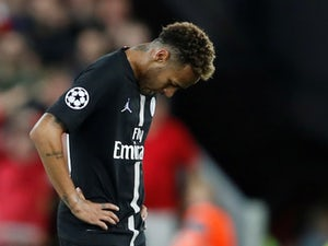 Neymar looks dejected after the final whistle during the Champions League group game between Liverpool and Paris Saint-Germain on September 18, 2018