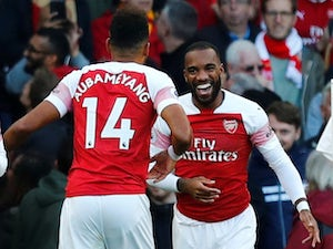 Pierre-Emerick Aubameyang and Alexandre Lacazette celebrate Arsenal's opening goal in the win over Everton on September 23, 2018