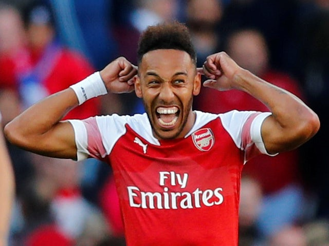 Pierre-Emerick Aubameyang celebrates scoring during the Premier League game between Arsenal and Everton on September 23, 2018